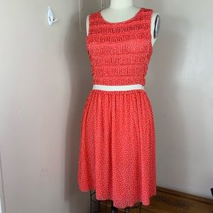 Anthropologie Postage Stamp Red Polka Dot Dress